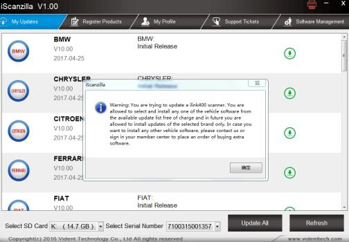 vident scan tool software update 8